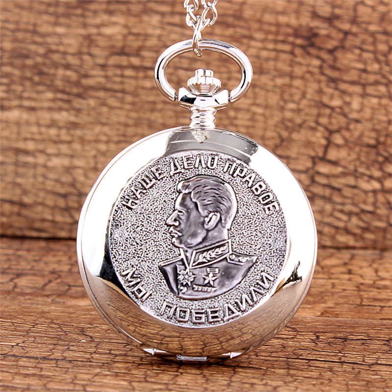 Gorben  Fashion Silver Pocket Watch Jewelry Alloy Chain Pendant Necklace  Smooth Quartz Clock Gift With Box For Choice