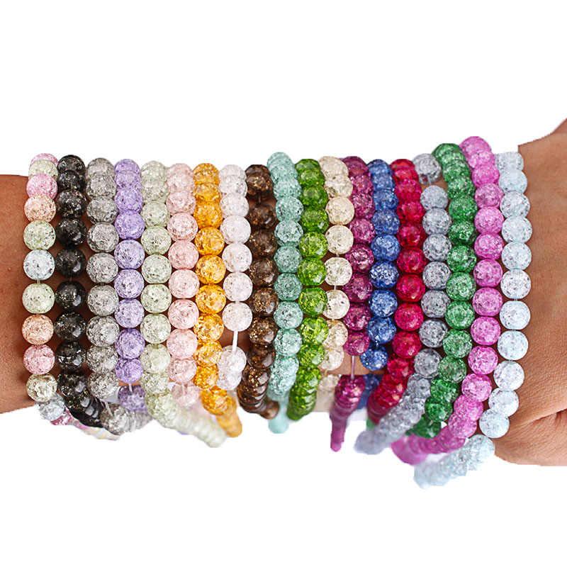 Natürliche Stein Farbige Schnee Geknackt Quarz Kristall Runde Perlen 4 6 8 10 12mm DIY Mode Armband Halskette Für schmuck Machen