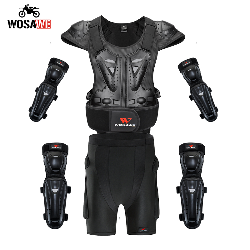 WOSAWE Motorcycle Armor set Short Adult Off Road Motocross Racing protection Gear MTB Clothing Jacket kneepads Elbowpads shorts