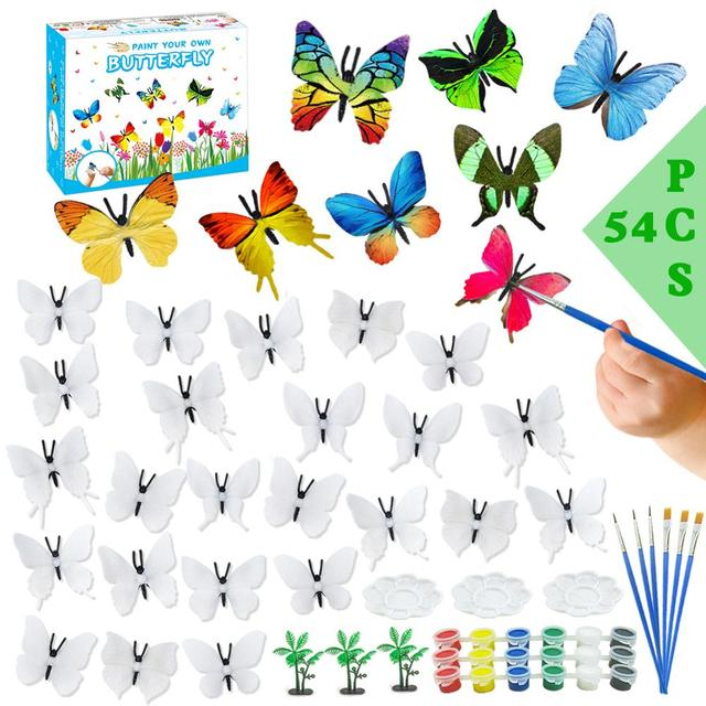 54PCS DIY Coloring 3D Hand Painting Animal Butterfly Model Drawing Graffiti Toy 1