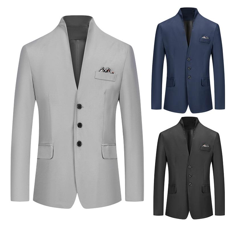 Autumn  Men Blazer Coats Vintage Button Black White Casual Men Blazer Business Wedding Party Coat Suit Tops Outwear Clothes
