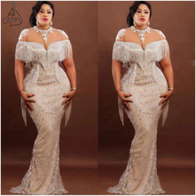 2020 Couture Nigeria Mermaid Evening Dresses Sheer Neck Lace