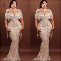 2020 Couture Nigeria Mermaid Evening Dresses Sheer Neck Lace Tassels Prom Gown Plus Size Formal Dress Zipper Back Robe de soiree