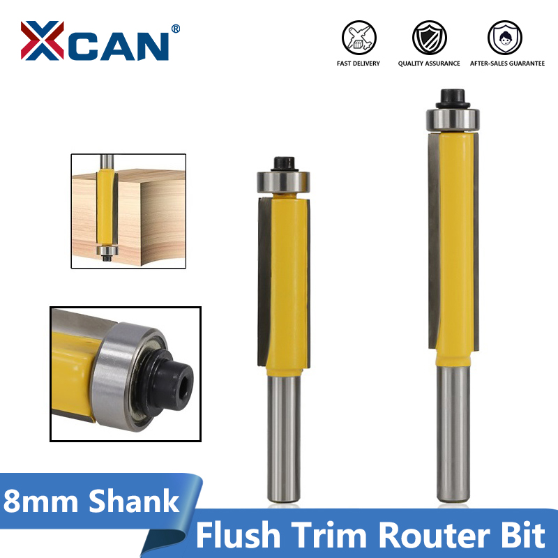 XCAN 1pc 8mm 1/2''(12.7mm) Shank Bearing Guide Template Router Bit Carbide Pattern Router Bit Wood Flush Trimming Milling Cutter