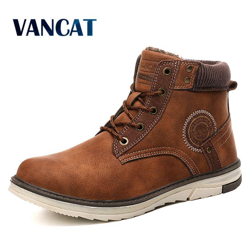 Vancat New Warm Men Boots Winter Waterproof Ankle Boots Desert Boots Outdoor Plush Working Snow Boots Men's Shoes Big Size 39-46