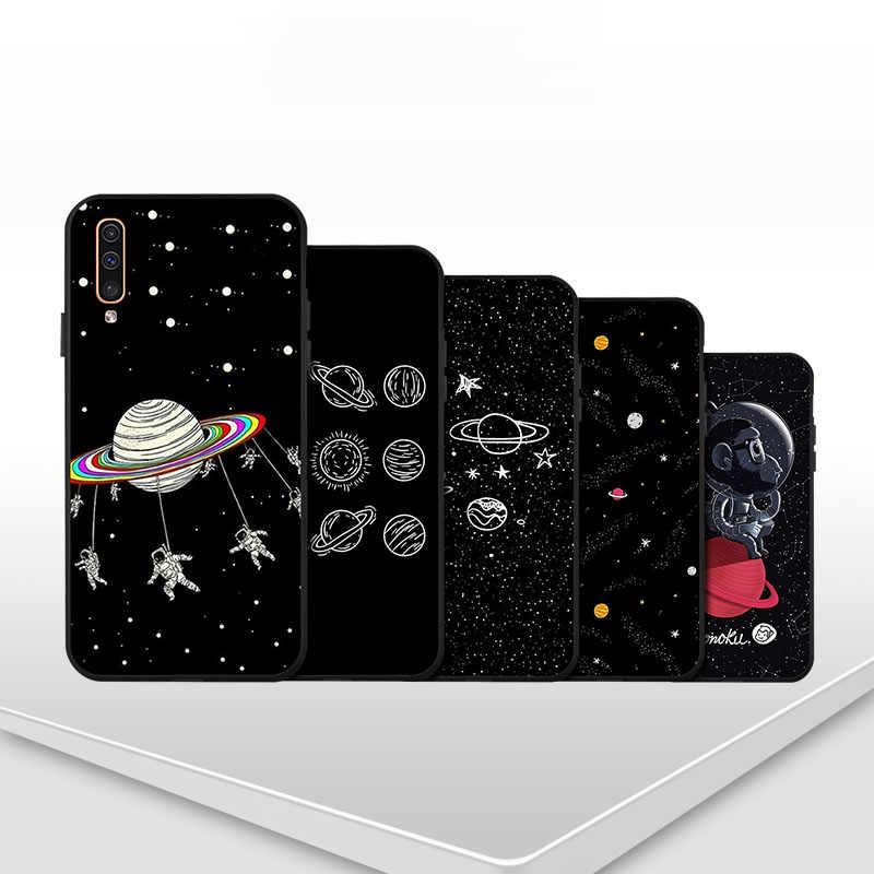 Samsung A50 A70 A40 A30 A20 A10 M30 M20 M10 kılıfı uzay ay yumuşak siyah boyalı telefon kapak samsung Galaxy A60 A20e