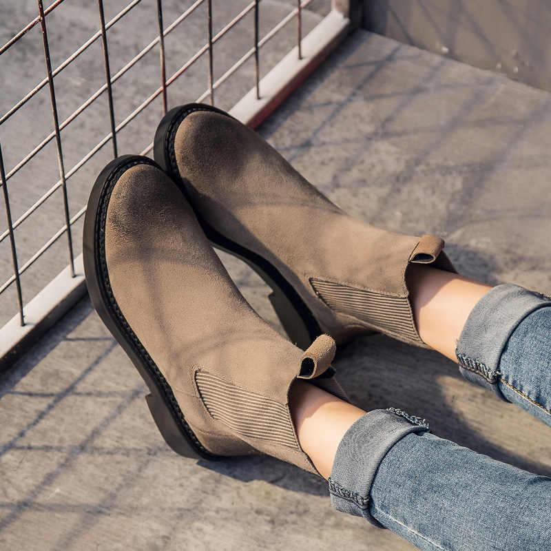 รองเท้าบู๊ตหนังแท้หนังฤดูหนาวหิมะรองเท้าผู้หญิง Martin รองเท้าหนังนิ่มสุภาพสตรีคุณภาพสูง Botas Mujer
