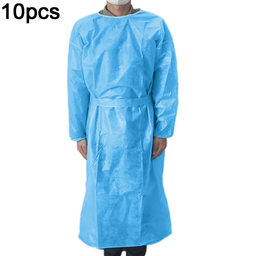 1/10Pcs Disposable Anti-bacterial  Surgical Isolation Cover Gown Clothes Non-woven Fabric Thickened