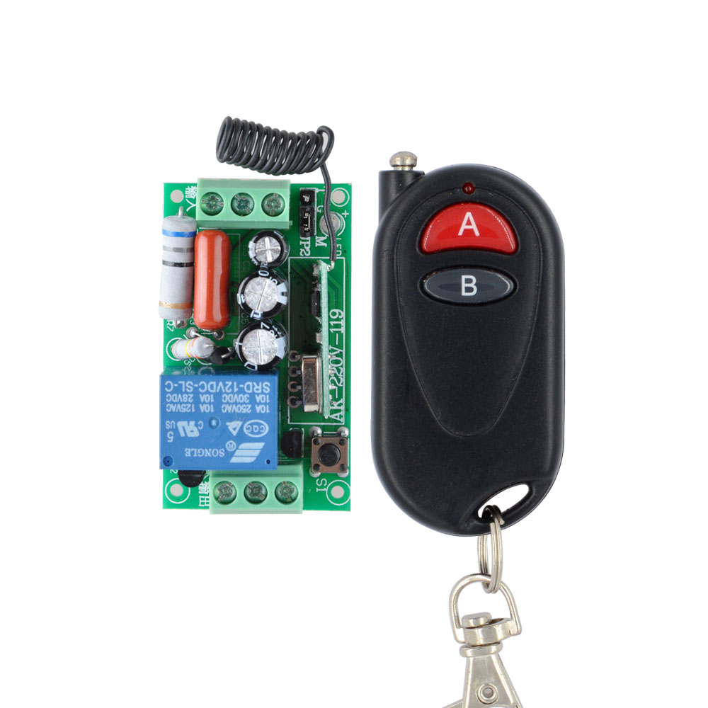 Wireless Remote Control Light Switch 10A Relay Output Radio AC 220V 1 Channel Receiver Module 2-Button Transmitter 10PCS