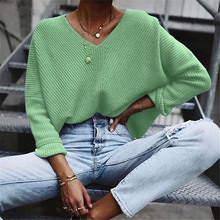 loose sweater womens sweaters Womens New Fashion Sweater V Neck Long Sleeve Knitted  Blouse Y827