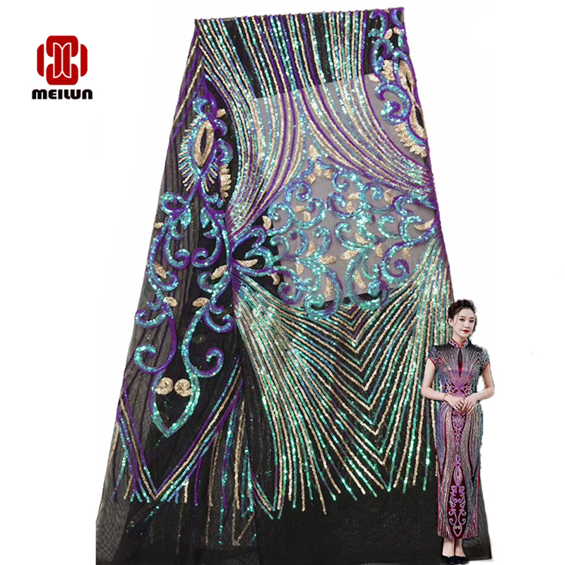 Hot New2020 Latest Big Flower Bit Sequin Embroidery Beautiful Skirt Design Fabric African Fabric Lace French Fabric Banquet Suit