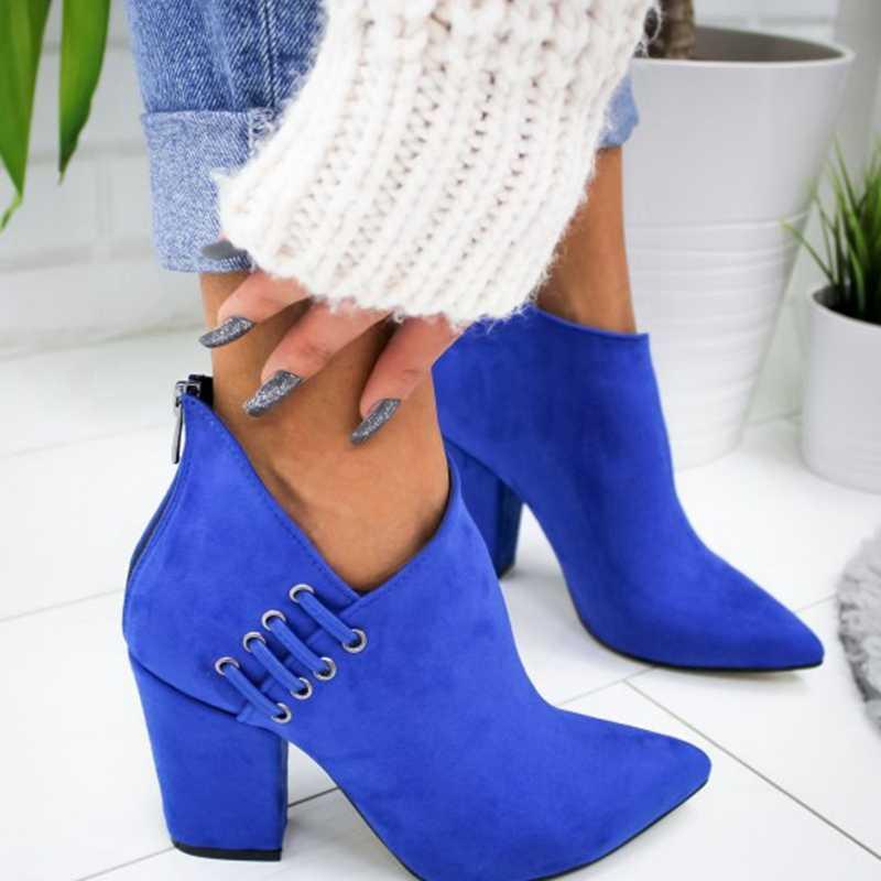 SHUJIN yeni kadın ayakkabı ayak bileği seksi bot kısa çizmeler yüksek topuk moda sivri avrupa ayakkabı kadın artı boyutu 35- 43