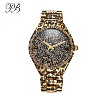 PB Watch Women Black Leopard Print Ladies White Crystal Watches Unique Leopard Chain Strap Quartz Fashion Relogio Feminino shauna leopard black