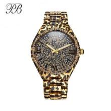 PB שעון נשים שחור הדפס מנומר גבירותיי לבן קריסטל שעונים ייחודי נמר שרשרת רצועת קוורץ האופנה Relogio Feminino