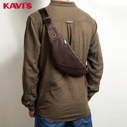 KAVIS Fanny Pack 100% Echtem Leder Taille Tasche Männlichen Tasche Gürtel Männer Handy Halter Tasche Geldbörse Messenger Crossbody Brust