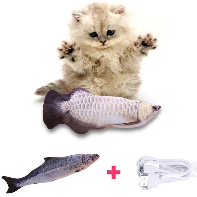 30 см электронная игрушка для питомцев, кошек, электрическая usb зарядка, имитация рыбы, игрушки для собак, кошек, жевательных игр, кусающих пос...