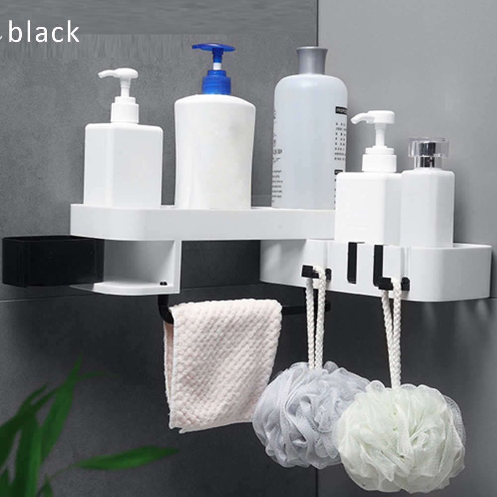 Wall Platstic Shelf Double Layer Adjustable Kitchen Bathroom Storage Rack Wall Corner Rotatable Holder Shelves Stand Organizer