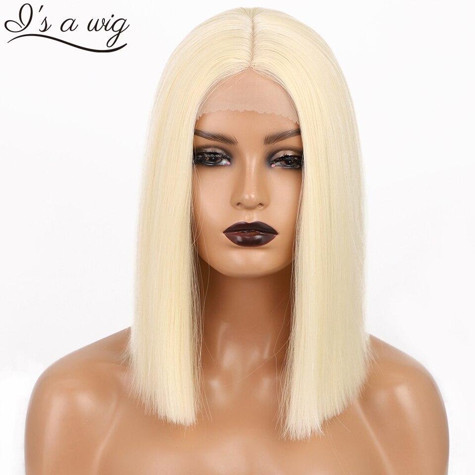 Eu é uma peruca perucas sintéticas loira 613 cor curto reta bob perucas para as mulheres meio parte natureza preto uso diário cabelos