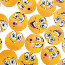 50PCS Cute Smiley Face Wooden Buttons 25MM For Child Clothing Sewing Buttons Crafts Scrapbooking Accessories 50pcs mixed color snails wooden buttons for craft clothing decorative diy scrapbooking buttons sewing accessories
