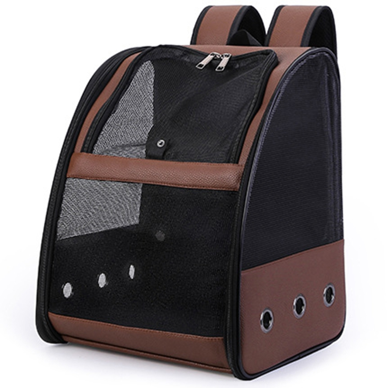 Brown Pet Parrot Backpack Carry Cage Cat and Dog Outdoor Travel Breathable Carrier Bird Transport Bag Bird Supplies