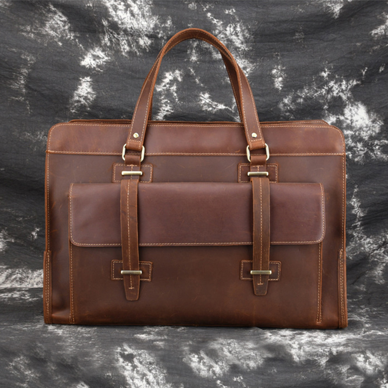 MAHEU Original Handbag Leather Briefcase For Male Travelling Flight Business Bag For 15 16 17 Inch Laptop Man Bag Retro Style