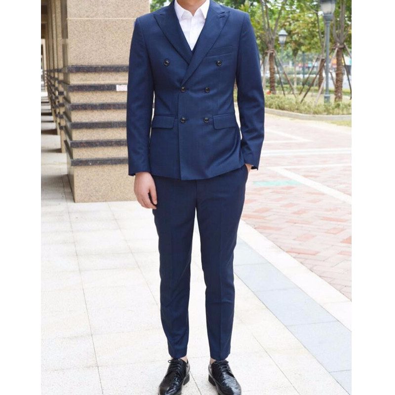 Business Men Suits Wedding Suits Double Breasted Classic Groom Suit For Men Formal Occasion Men Tuxedos(Jacket+Pants) L660