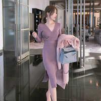 Vestido de punto con abertura ajustado para mujer, vestido de otoño 2020