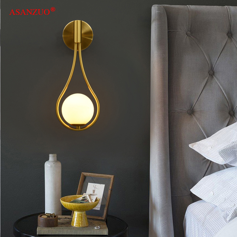 New Nordic creative living room metal wall lamp fashion modern minimalist bedroom bedside lighting aisle wall lamp