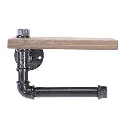 Держатель рулона унитаза Многофункциональный ретро-стиль железная труба настенное крепление бумажная вешалка для полотенец с деревянная ...