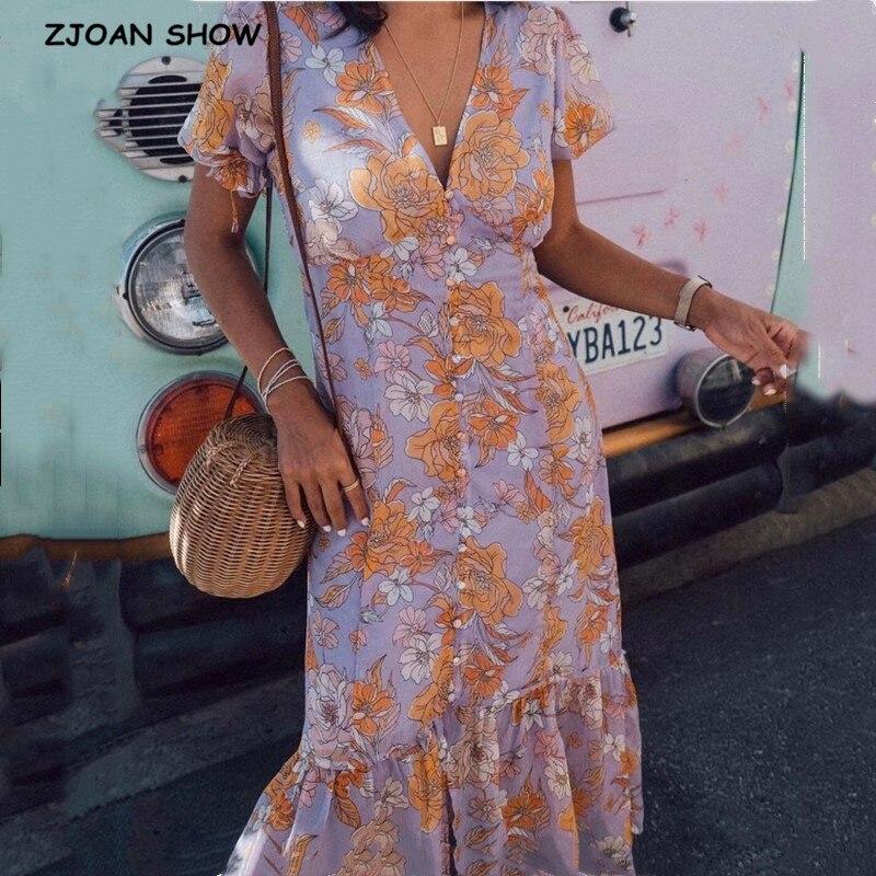 2020 French V Neck Flower Print Ruffles Dress Lavender Retro Women Single-breasted Lacing Up Short Sleeve Mermaid Dresses