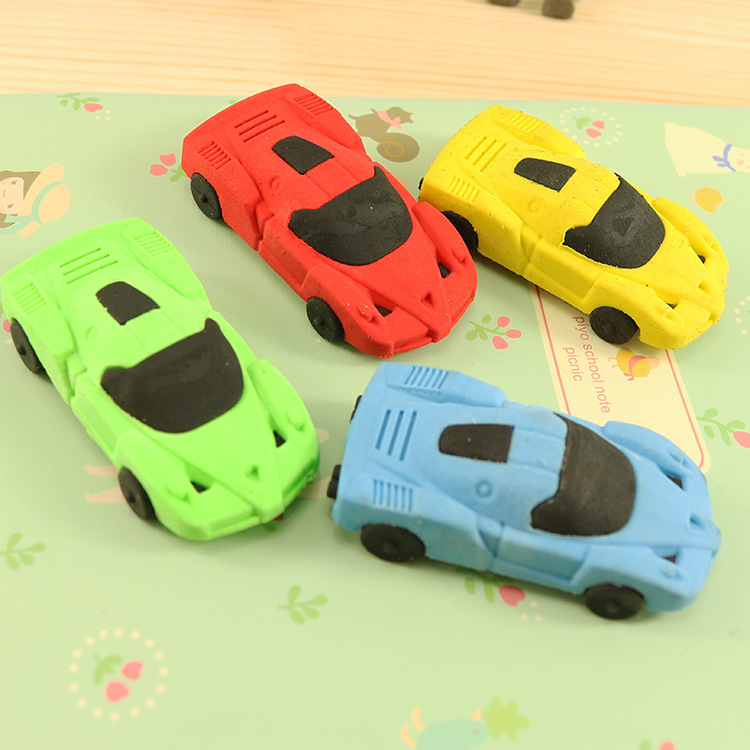 1 PCs Creative Cartoon Racing Car Student Child Environmental Protection Eraser Student Stationery Wholesale Learning Supplies