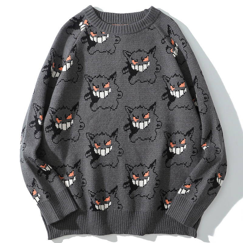 Sweater Men Pullover Clothing Couple Gengar O-Neck Harajuku Spandex Hip-Hop Male Casual