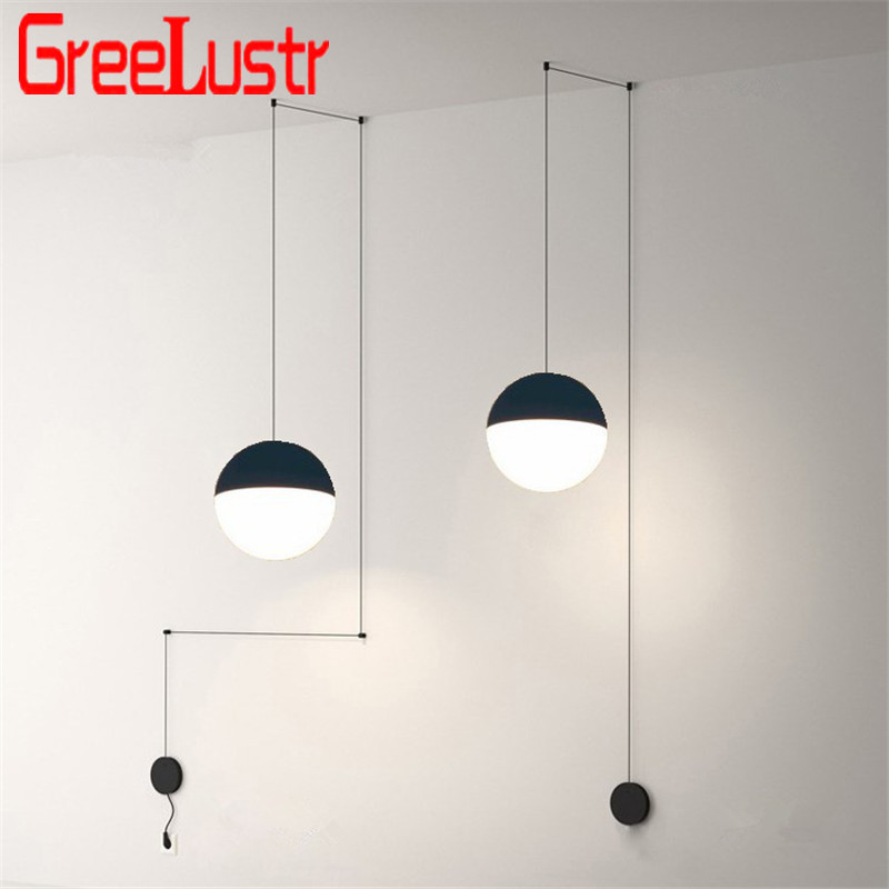Post-modern Lines Glass Ball Led Pendant Chandelier Lamp Geometric Design Hanging Light  Lustres For Bedroom Bedside Light