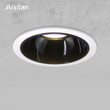 Aisilan Round Black Recessed LED Nordic Downlight Angle Built-in LED lamp Spot light AC90-260V 7W for Indoor Lighting(China)