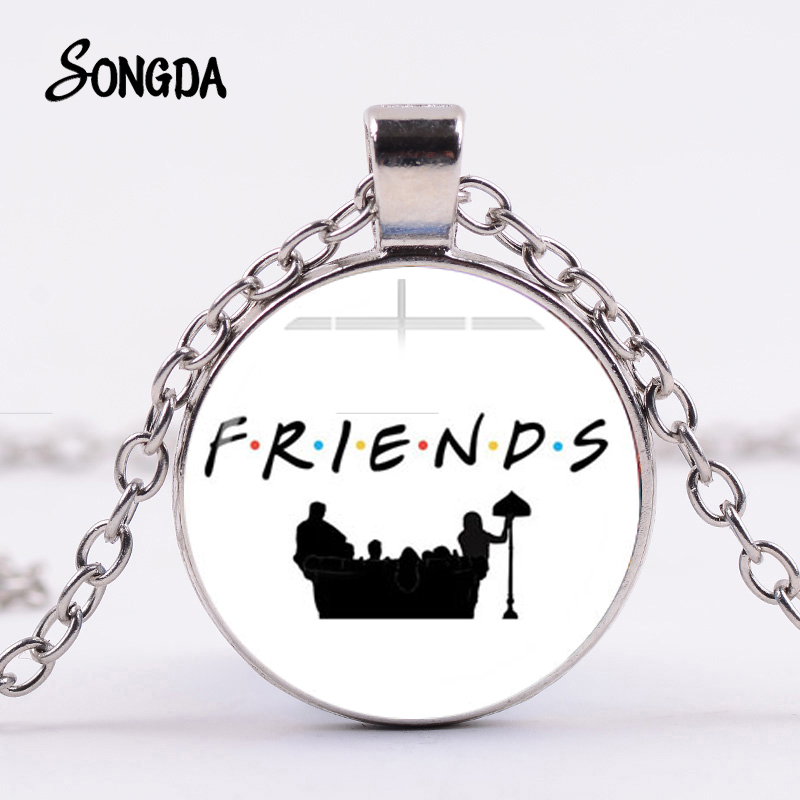 SONGDA Classic Friends TV Show Necklace Hot American TV Peephole Frame Central Park Coffee Time Poster Glass Pendant for Friends image