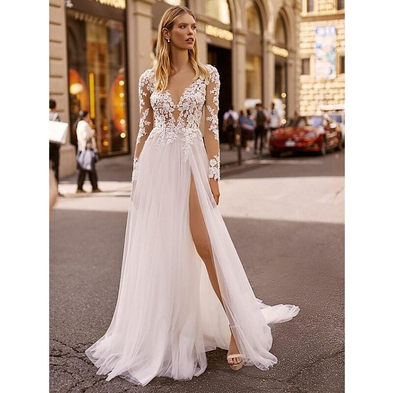 Verngo A Line Wedding Dress Boho Backless Long Sleeves Wedding Gowns Lace Appliques Elegant Bride Dress Abiti Da Sposa Gelinlik