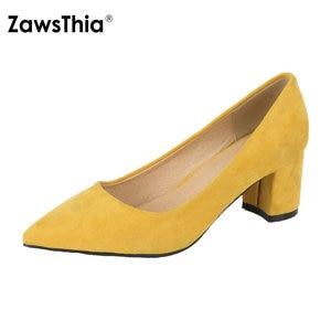 Image 1 - ZawsThia עבה גבוהה עקבים נעלי נשים משאבות נעלי עבודת בוהן מחודדת להחליק על עקבים גבוהים אביב הנעלה גדול גודל 42 43 אדום צהוב