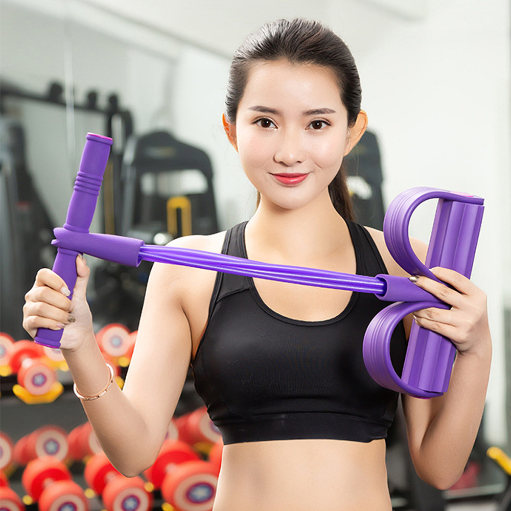 Waist Yoga Stretching Slimming Training Arm Luhiew Pedal Resistance Band,Home Multifunction 4 Tubes Sit-up Pull Rope Fitness Bodybuilding Tension Rope Equipment for Abdomen