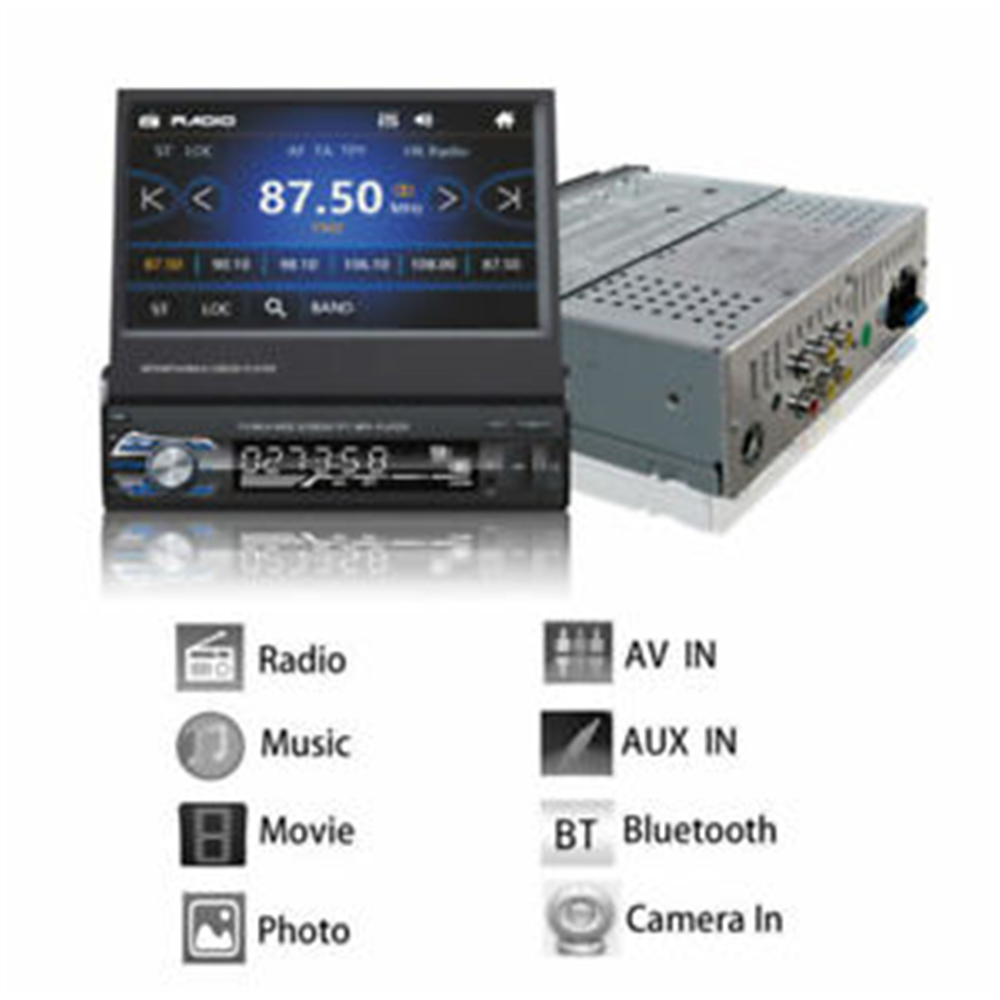 Hikity Podofo 1din Autoradio MP5 lecteur GPS Navigation multimédia voiture Audio stéréo Bluetooth 7 HD rétractable Autoradio caméra - 2
