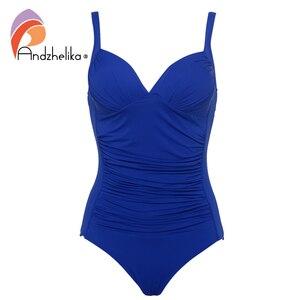 Image 4 - Andzhelika jednoczęściowy strój kąpielowy 2019 kobiet stroje kąpielowe solidna plaża Plus rozmiar body Vintage Retro krotnie kostiumy kąpielowe Monokini