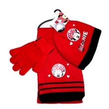 3pcs/set Kids Hat Winter Gloves+scarf+Hat Warm Knitted Cartoon Caps Gloves Baby Boys Girls Hats minnie cartoon hat