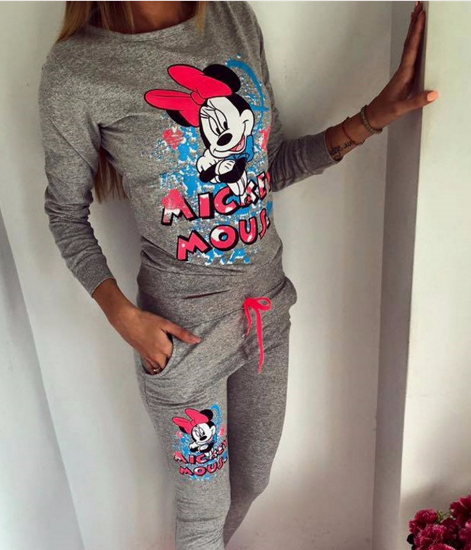 1061 Autumn And Winter Women's Clothing Mickey Pattern Printed Long Sleeve Casual Sports Clothing Hoodie Set