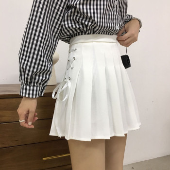 Women Pleated Skirt Summer Solid A Line High Waist Mini Skirts Harajuku Gothic Punk Hip Hop Bow Lace-Up Preppy Girls Sexy Skirt 1
