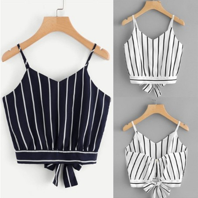 Summer Tops Blouse Camisole Crop-Top Women's Clothing Striped V-Neck Cotton for Blended