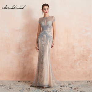 Image 1 - New Arrivals In Stock Luxurious Sexy Formal Evening Dresses Crystal Beaded Robe De Soiree  Real Photos WT5553