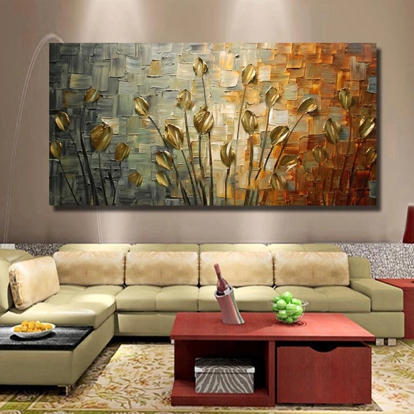 Hand Painted Wall Paintings Palette Knife Flower Abstract Oil Painting On Canvas Wall Art Modern Home Decoration(No Frame)