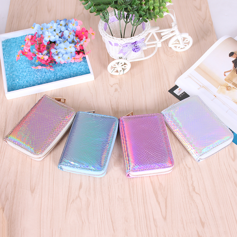 Wallet Women Handbag Holographic Leather Laser Organizer Wallet Ladies Long  Purse Female Coin Girl Purse Card Pocket Wristlet
