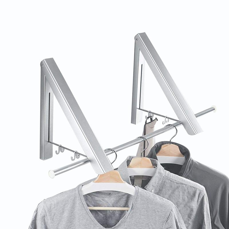 Folding Clothes Hanger Adjustable Drying Rack Retractable Coat Hanger Home Storage Organiser Instant Closet  Wall Mounted with S|Drying Racks| |  -