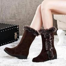 2020 duże rozmiary 35-42 buty zimowe nowe buty damskie grube dno duże rozmiary w płaska podeszwa antypoślizgowe ciepłe buty na śnieg tanie tanio KUEARYTN CN (pochodzenie) Flock Połowy łydki Metalu dekoracji Stałe S060 Dla dorosłych Kliny Buty śniegu Krótki pluszowe