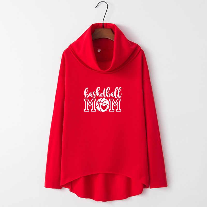 Basket Ibu Jantung Huruf Cetak Hoodies Wanita Musim Dingin Tidak Teratur Kaus untuk Wanita Femmes Ibu Hadiah Musim Gugur Manis Atasan